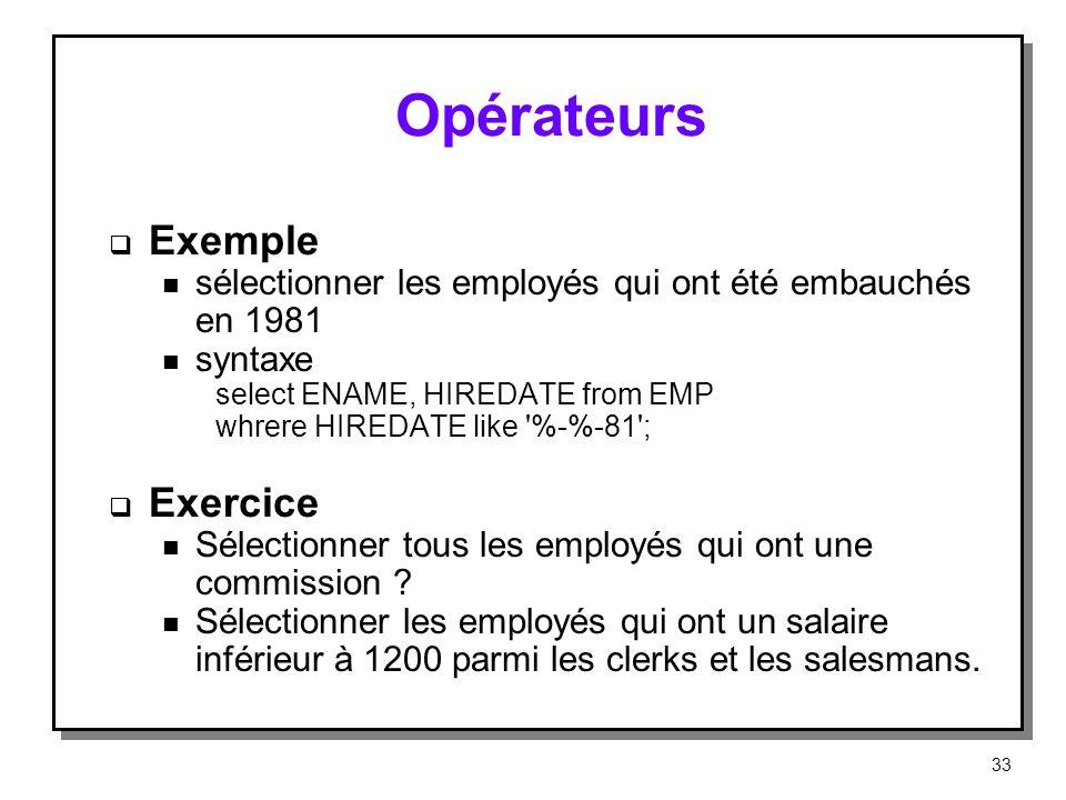 Opérateurs Exemple Exercice