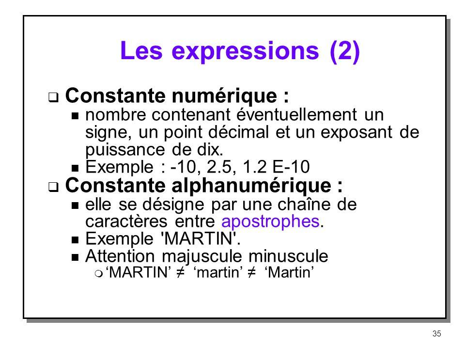 Les expressions (2) Constante numérique : Constante alphanumérique :