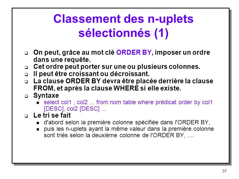 Classement des n-uplets sélectionnés (1)