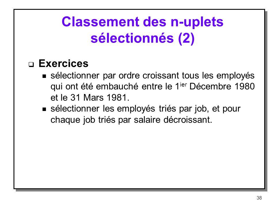 Classement des n-uplets sélectionnés (2)