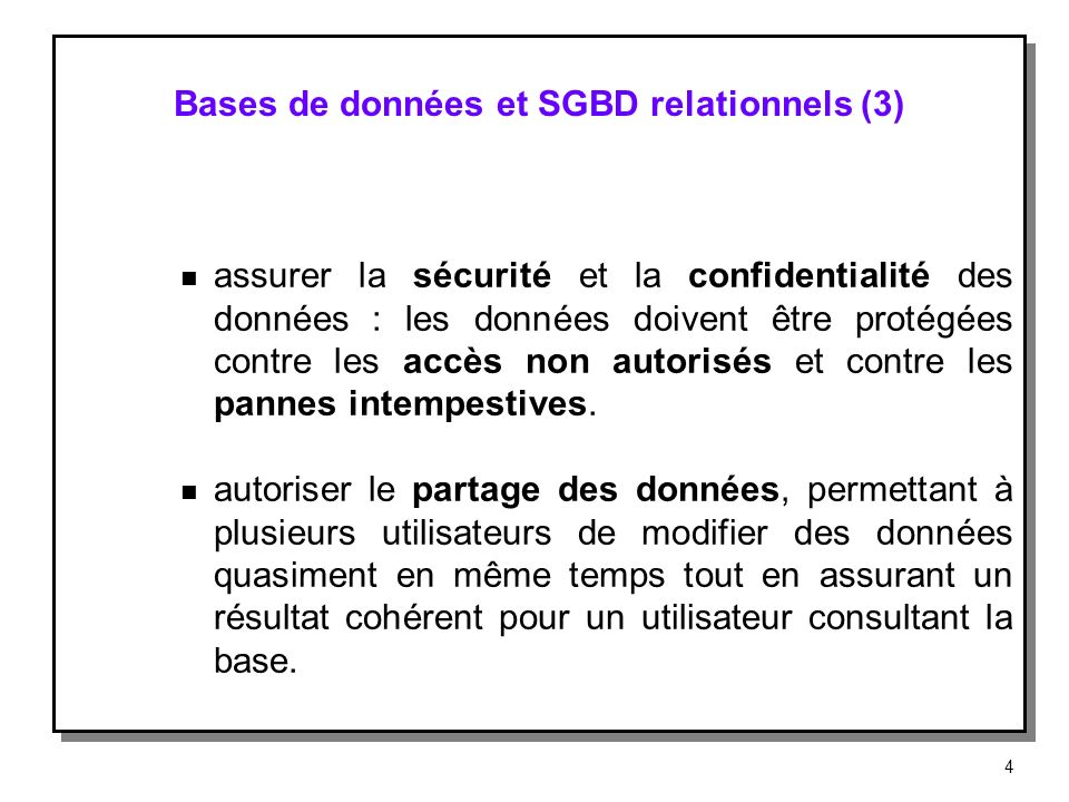 Bases de données et SGBD relationnels (3)