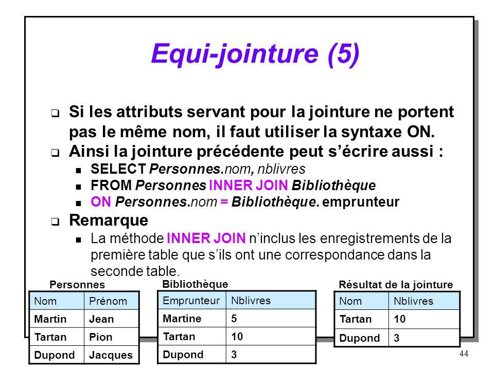 Equi‑jointure (5) Si les attributs servant pour la jointure ne portent pas le même nom, il faut utiliser la syntaxe ON.