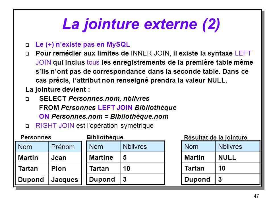 La jointure externe (2) Le (+) n'existe pas en MySQL