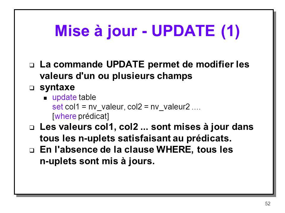 Mise à jour ‑ UPDATE (1) La commande UPDATE permet de modifier les valeurs d un ou plusieurs champs.