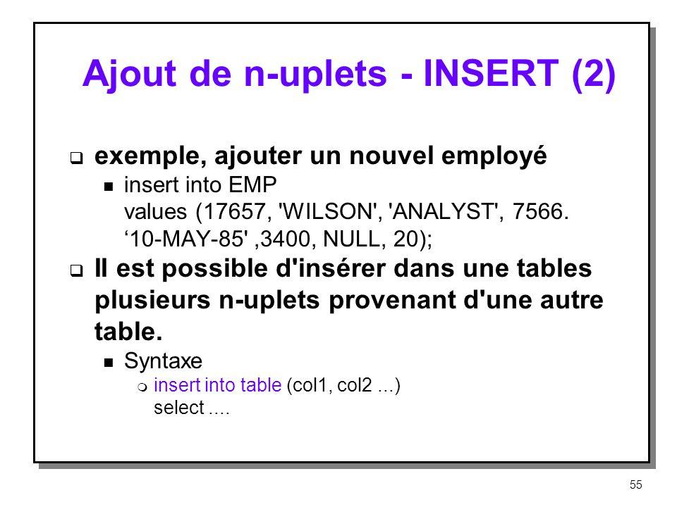Ajout de n-uplets ‑ INSERT (2)