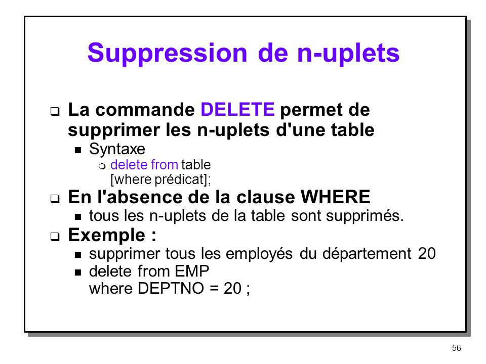 Suppression de n-uplets