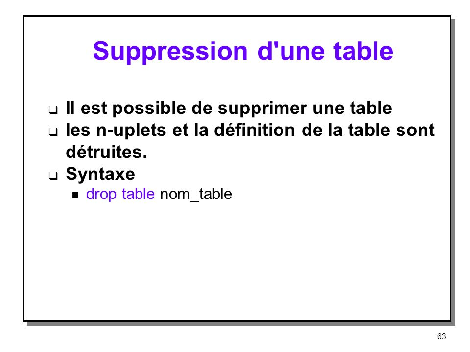 Suppression d une table
