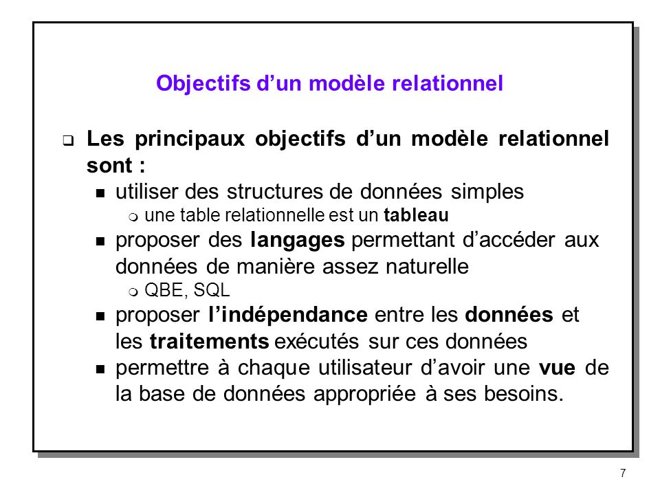 Objectifs d'un modèle relationnel
