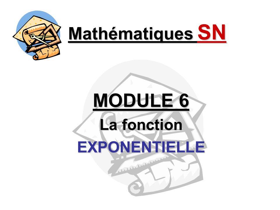 MODULE 6 La fonction EXPONENTIELLE