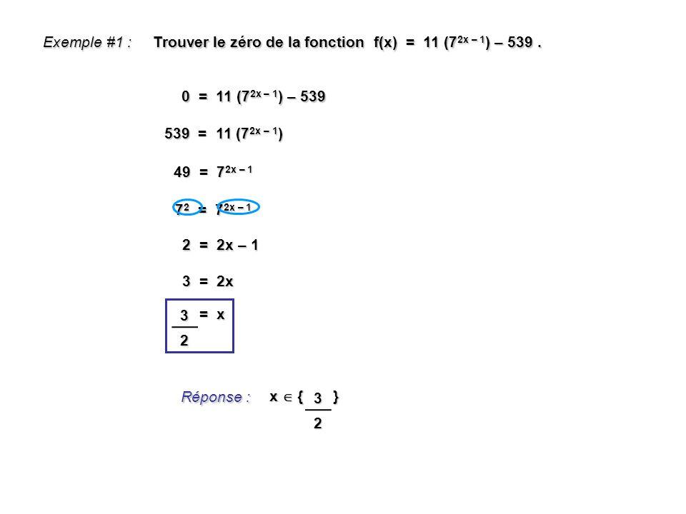 Exemple #1 : Trouver le zéro de la fonction f(x) = 11 (72x – 1) – 539 . 0 = 11 (72x – 1) – 539.