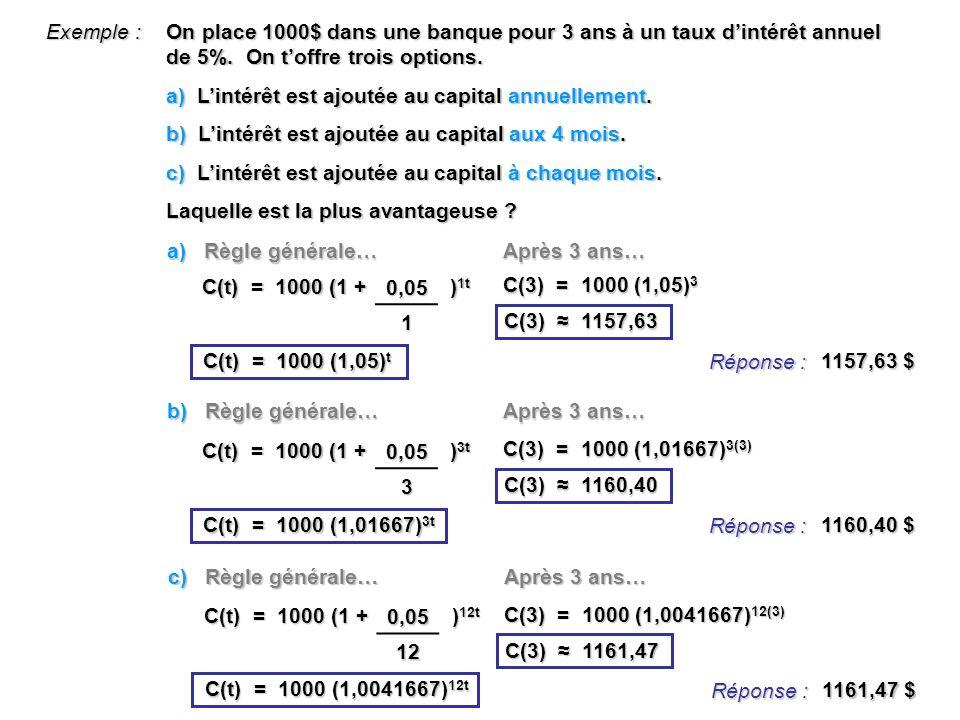 Exemple : On place 1000$ dans une banque pour 3 ans à un taux d'intérêt annuel de 5%. On t'offre trois options.