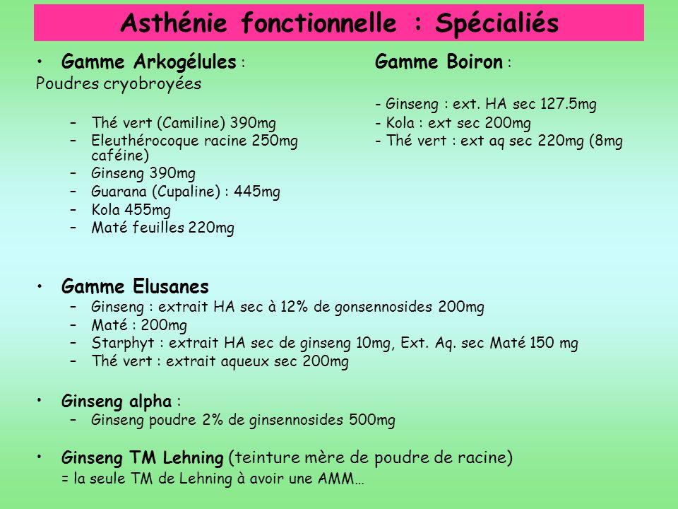 Asthénie fonctionnelle : Spécialiés