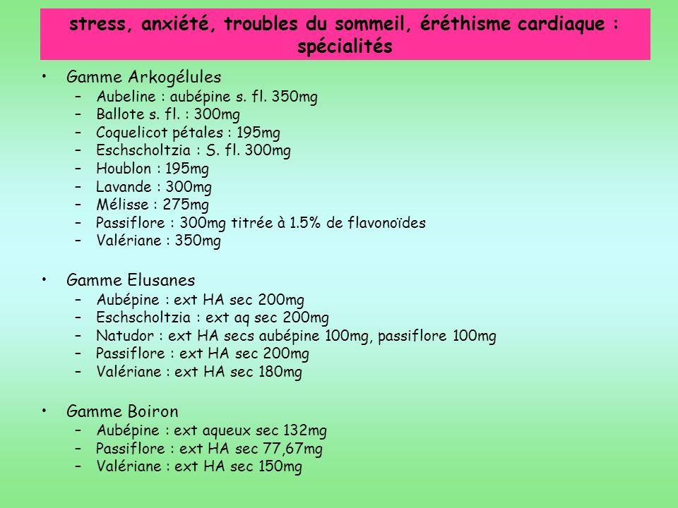 stress, anxiété, troubles du sommeil, éréthisme cardiaque : spécialités