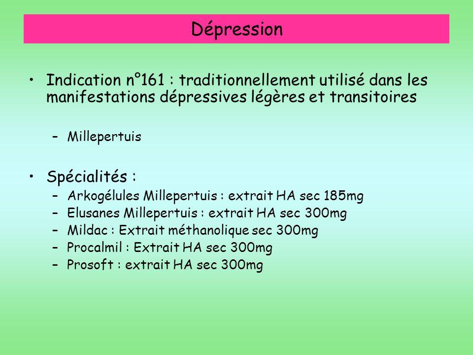 Dépression Indication n°161 : traditionnellement utilisé dans les manifestations dépressives légères et transitoires.