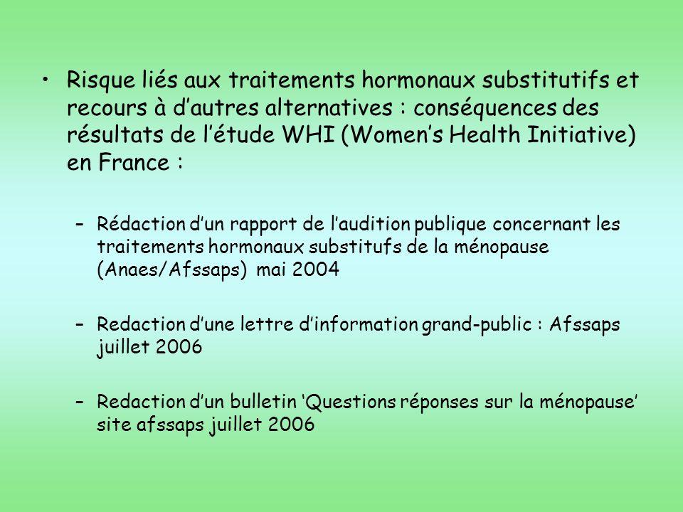 Risque liés aux traitements hormonaux substitutifs et recours à d'autres alternatives : conséquences des résultats de l'étude WHI (Women's Health Initiative) en France :