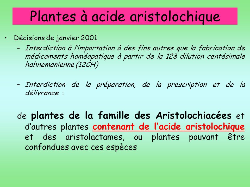 Plantes à acide aristolochique