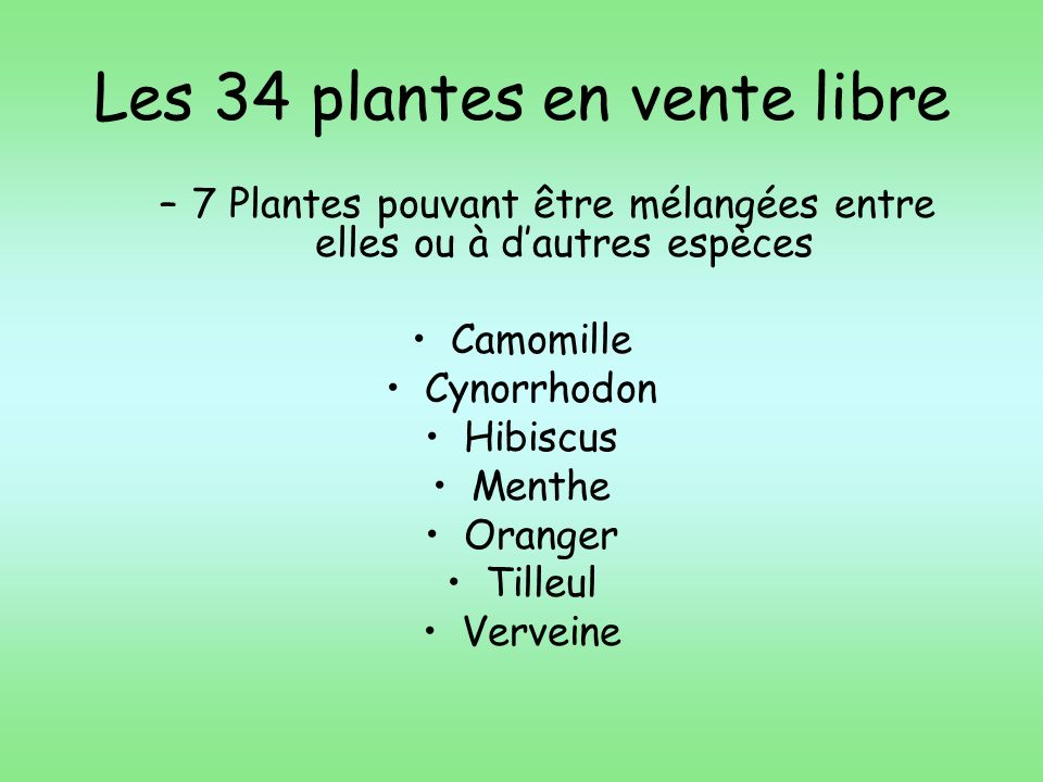 Les 34 plantes en vente libre