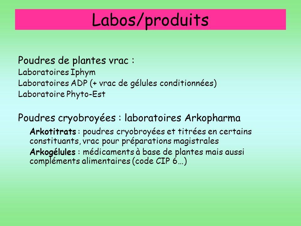 Labos/produits Poudres de plantes vrac :