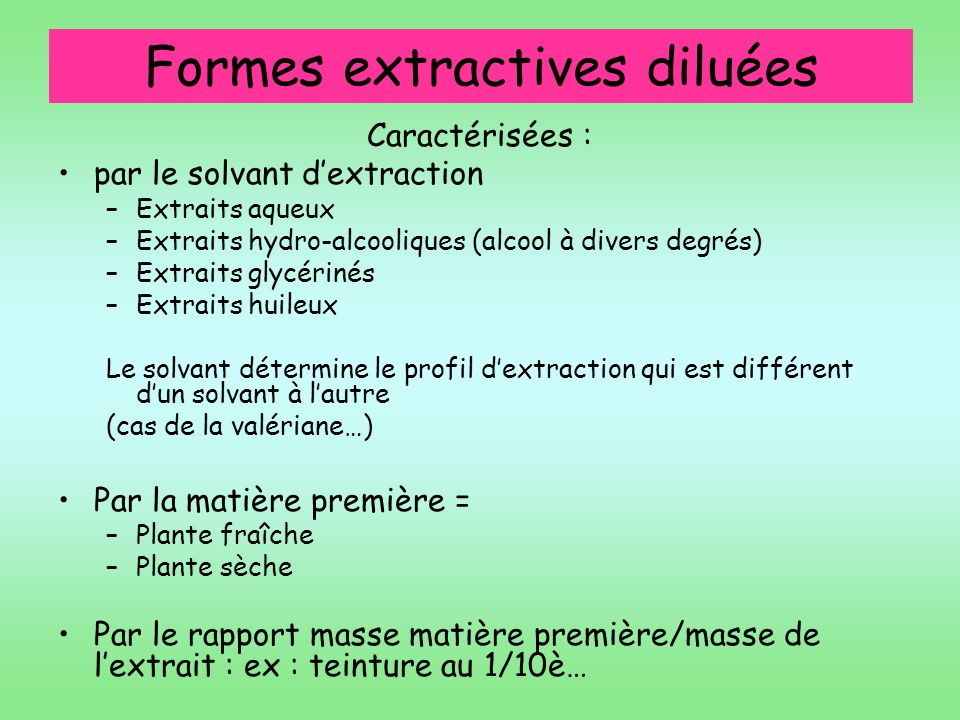 Formes extractives diluées