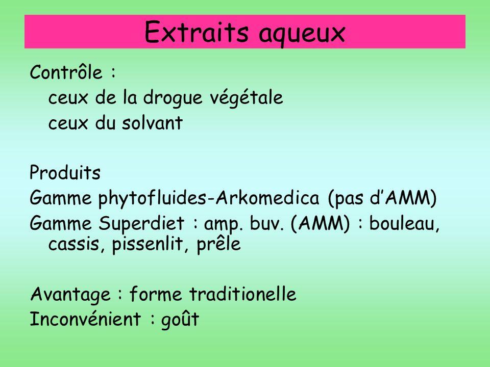 Extraits aqueux Contrôle : ceux de la drogue végétale ceux du solvant