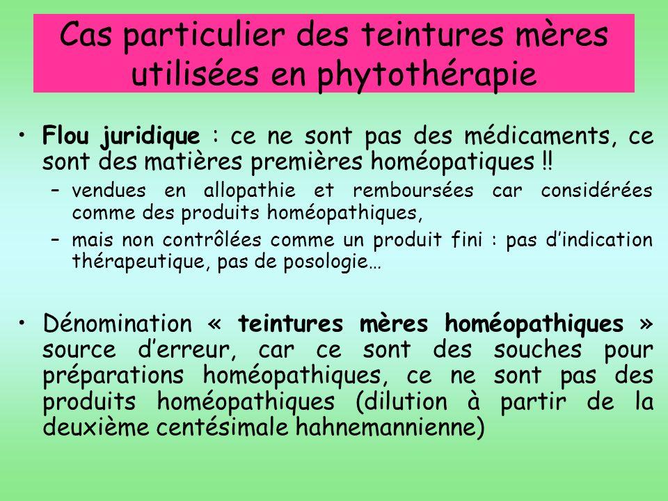 Cas particulier des teintures mères utilisées en phytothérapie