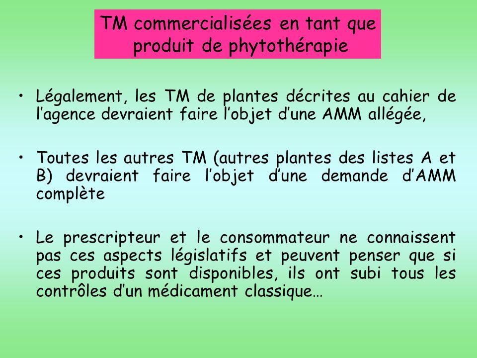 TM commercialisées en tant que produit de phytothérapie