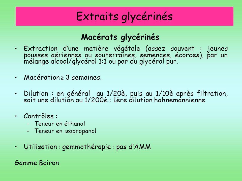 Extraits glycérinés Macérats glycérinés