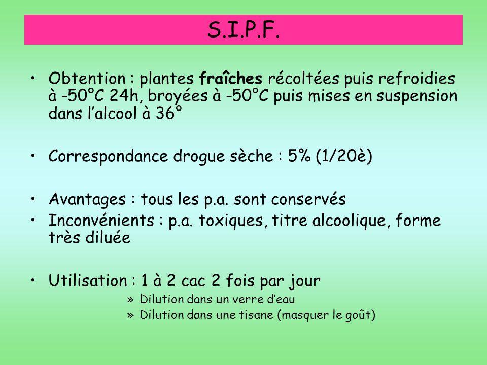 S.I.P.F. Obtention : plantes fraîches récoltées puis refroidies à -50°C 24h, broyées à -50°C puis mises en suspension dans l'alcool à 36°