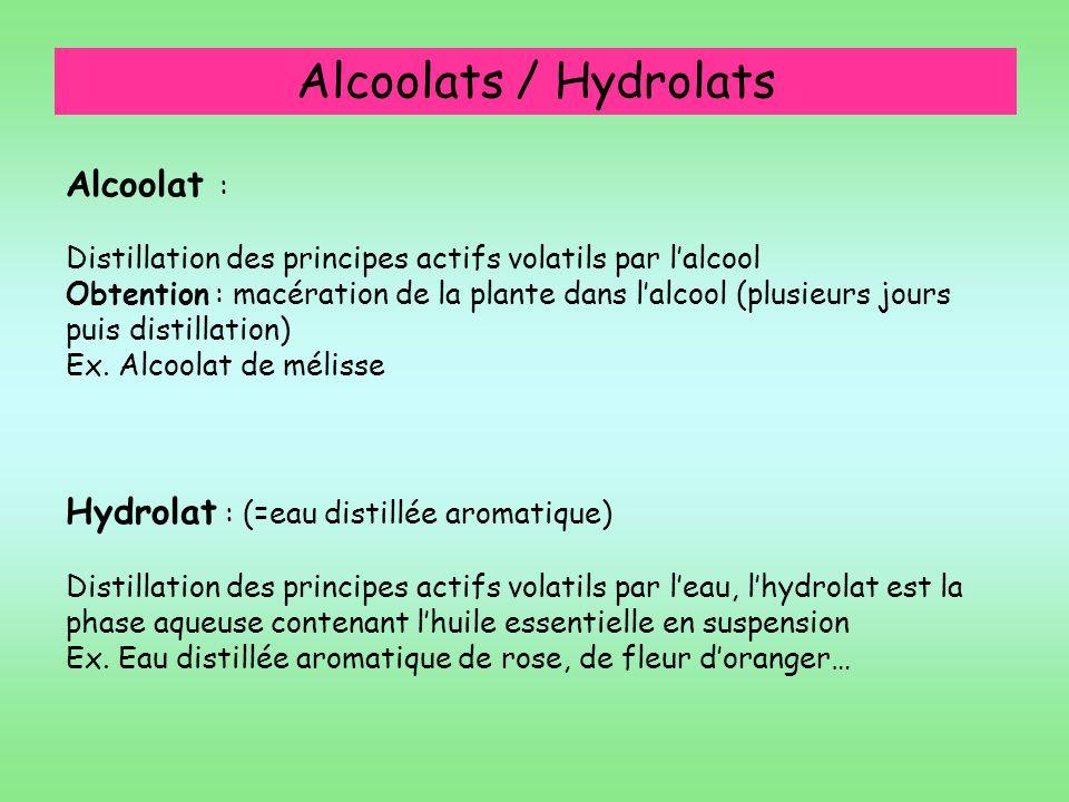 Alcoolats / Hydrolats Alcoolat :