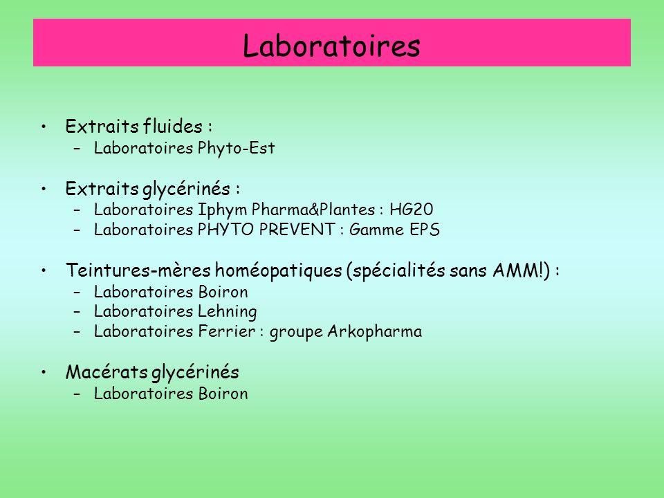 Laboratoires Extraits fluides : Extraits glycérinés :