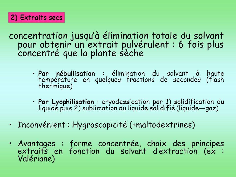2) Extraits secs concentration jusqu'à élimination totale du solvant pour obtenir un extrait pulvérulent : 6 fois plus concentré que la plante sèche.
