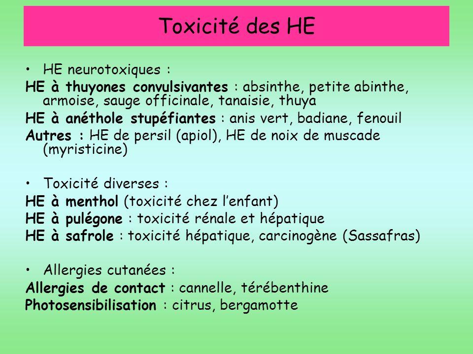 Toxicité des HE HE neurotoxiques :
