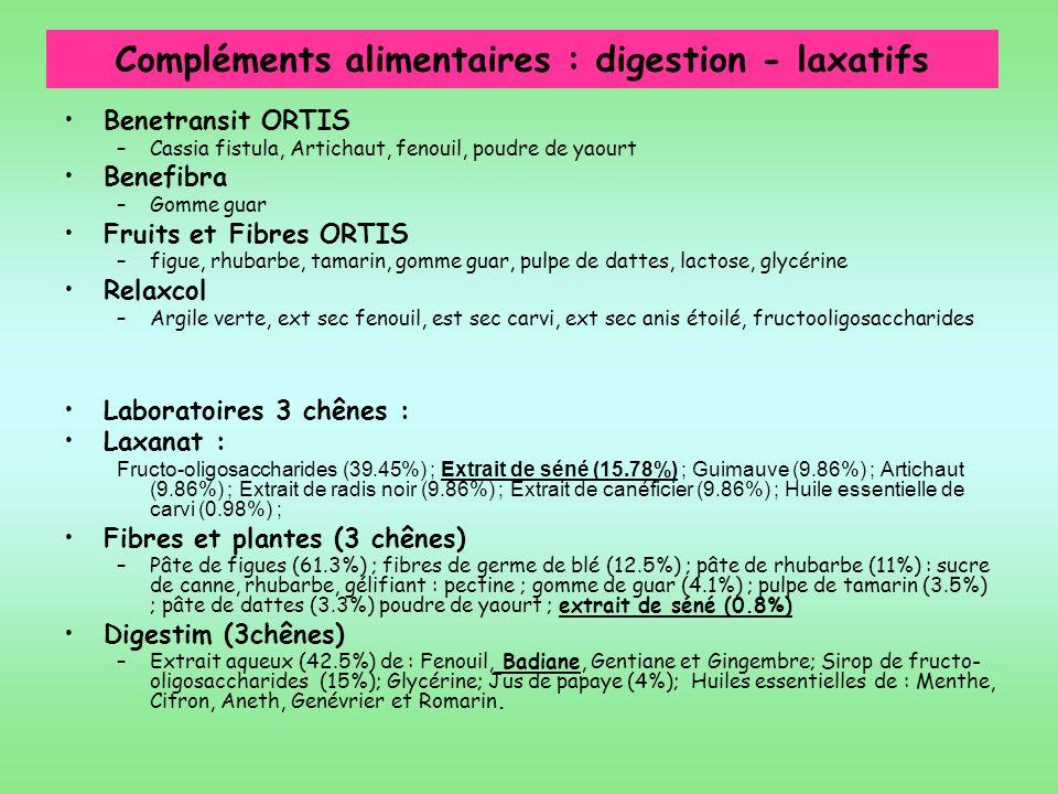 Compléments alimentaires : digestion - laxatifs