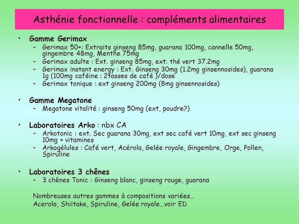 Asthénie fonctionnelle : compléments alimentaires