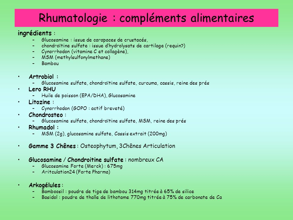 Rhumatologie : compléments alimentaires