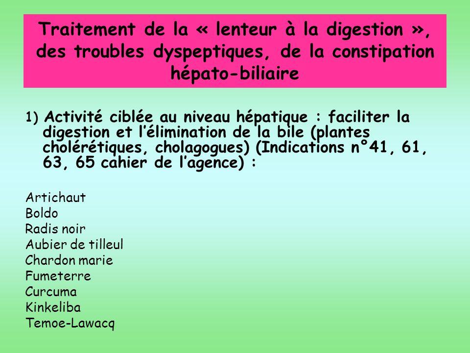 Traitement de la « lenteur à la digestion », des troubles dyspeptiques, de la constipation hépato-biliaire