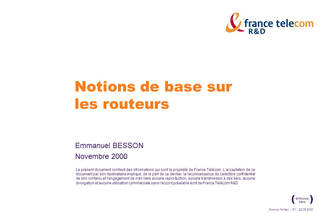 Notions de base sur les routeurs
