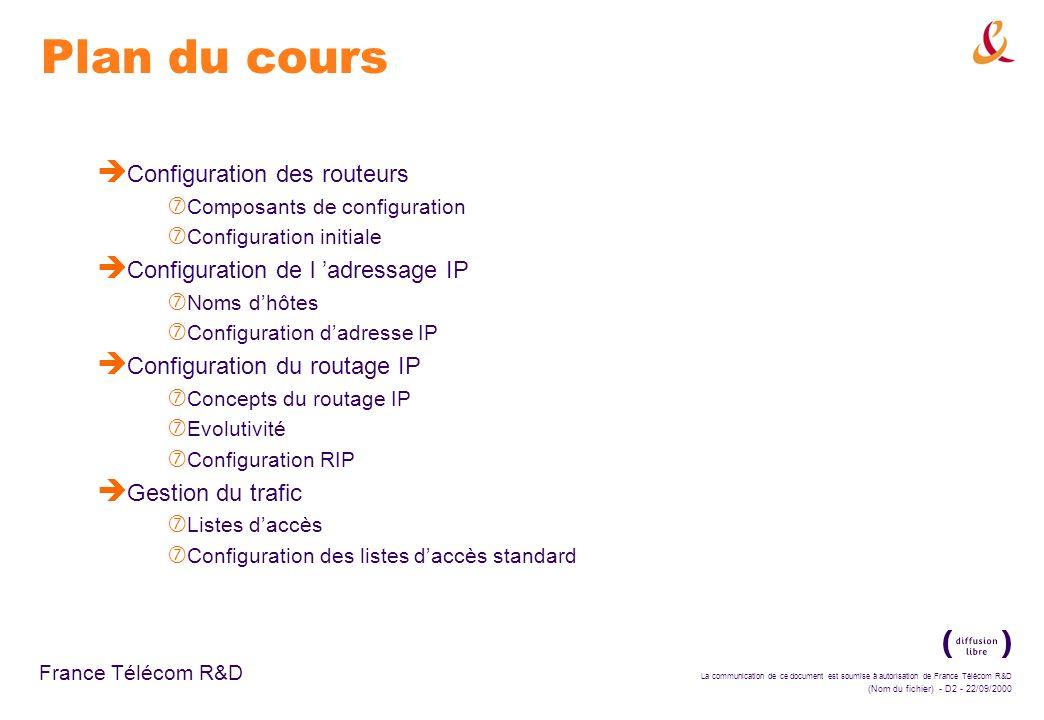 Plan du cours Configuration des routeurs