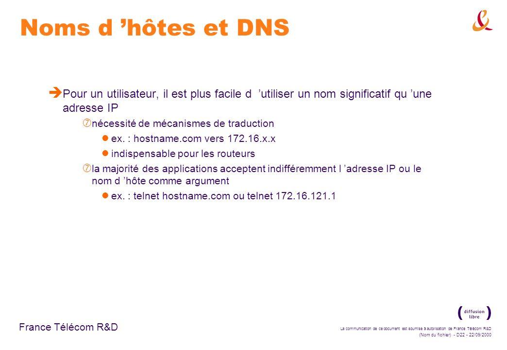 Noms d 'hôtes et DNS Pour un utilisateur, il est plus facile d 'utiliser un nom significatif qu 'une adresse IP.