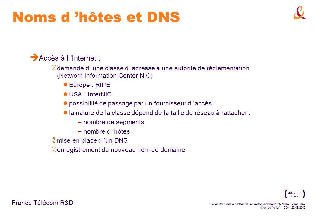 Noms d 'hôtes et DNS Accès à l 'Internet :