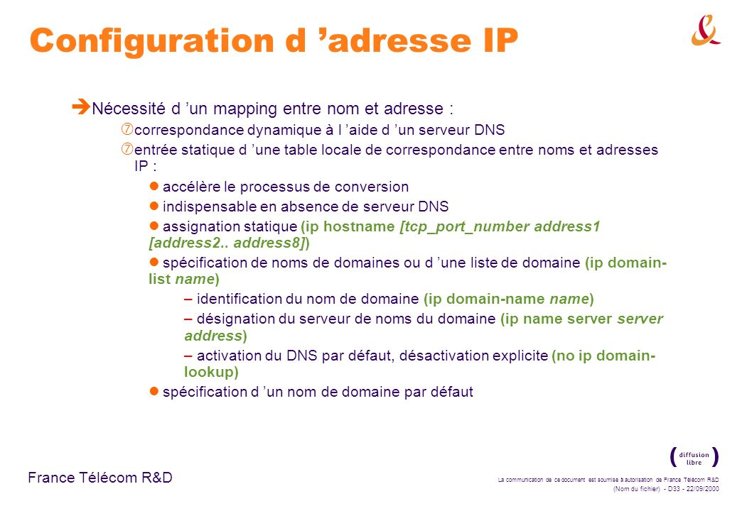 Configuration d 'adresse IP