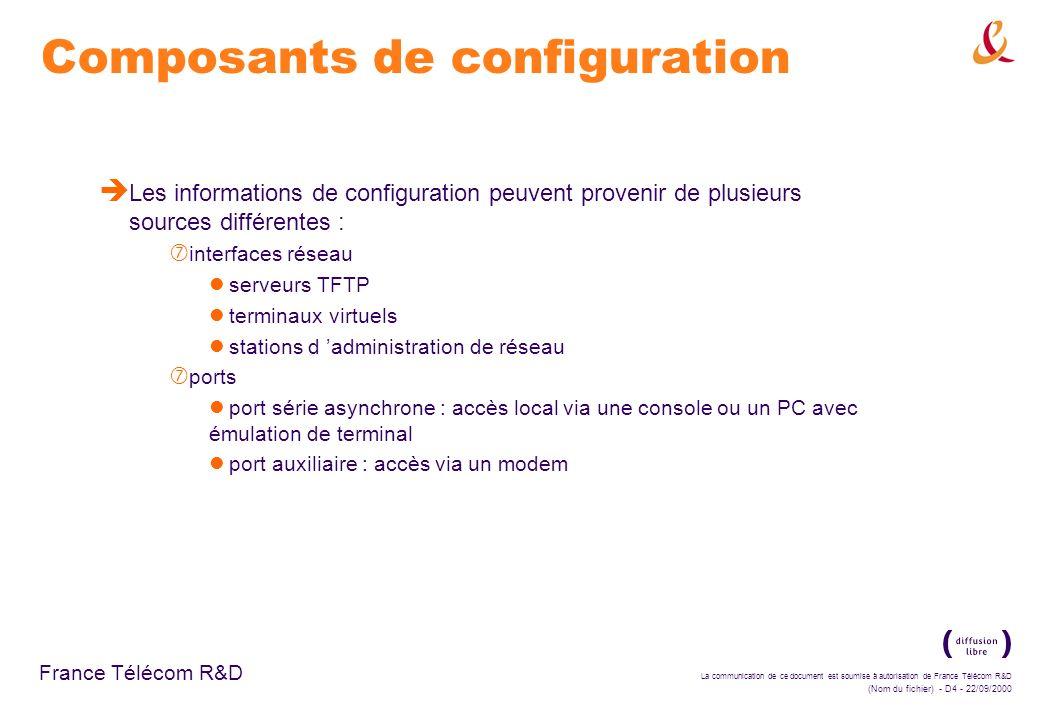 Composants de configuration