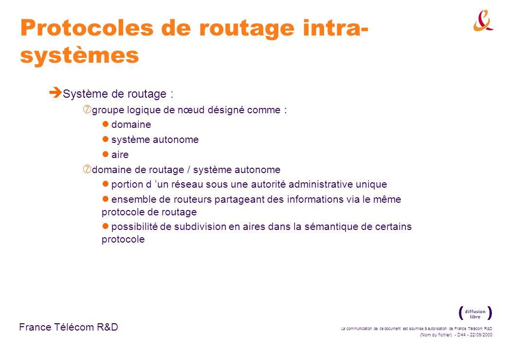 Protocoles de routage intra-systèmes