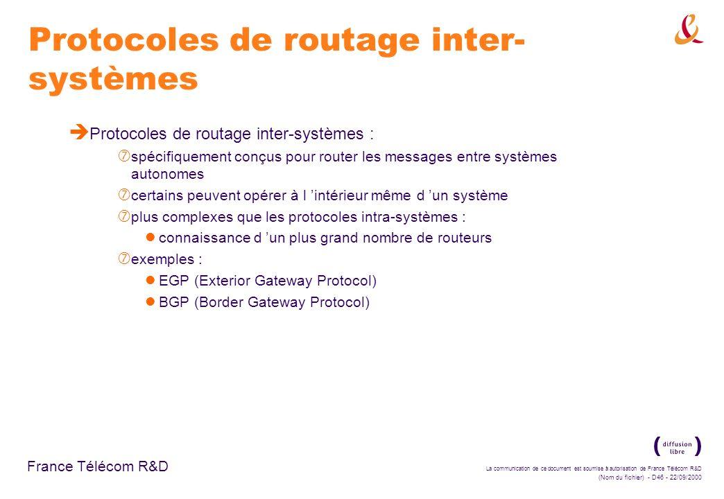 Protocoles de routage inter-systèmes