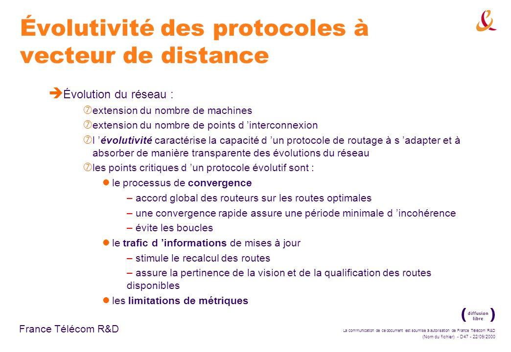 Évolutivité des protocoles à vecteur de distance