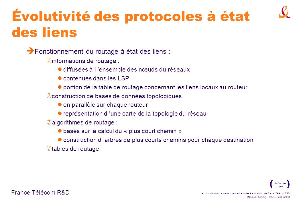 Évolutivité des protocoles à état des liens
