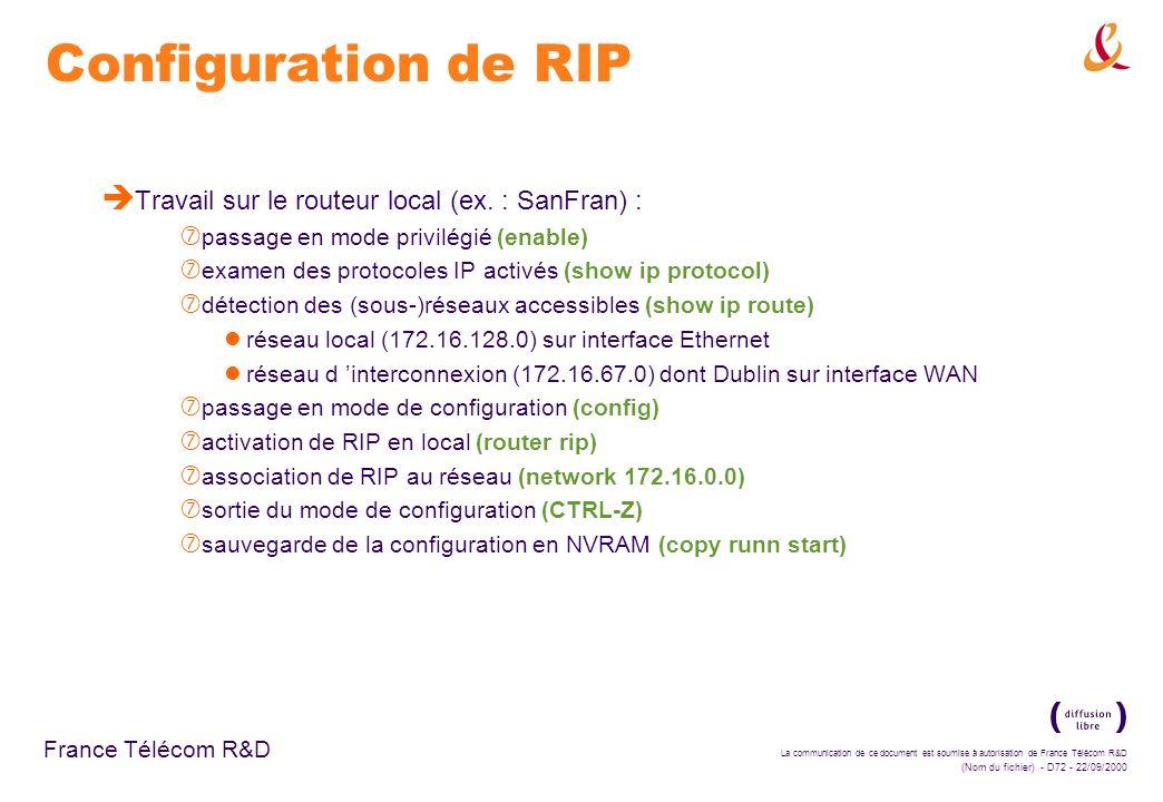 Configuration de RIP Travail sur le routeur local (ex. : SanFran) :