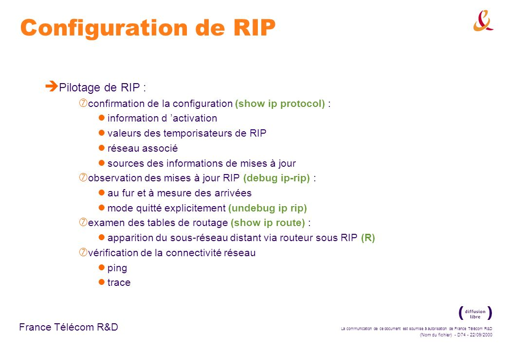 Configuration de RIP Pilotage de RIP :