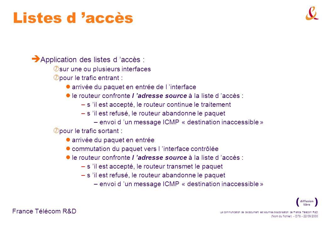 Listes d 'accès Application des listes d 'accès :