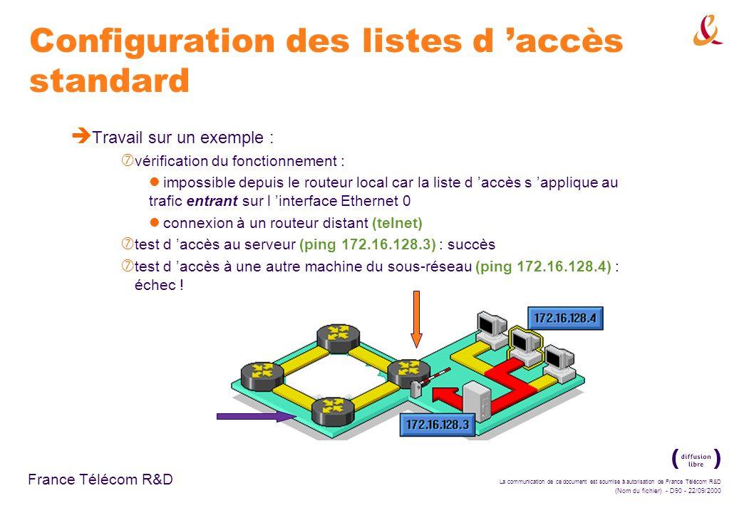 Configuration des listes d 'accès standard